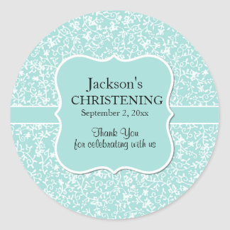Personalized Light Blue & White Floral Christening Classic Round Sticker