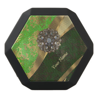 Personalized light green damask pattern black bluetooth speaker