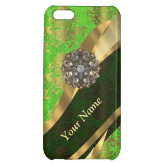 Personalized light green damask pattern cover for iPhone 5C