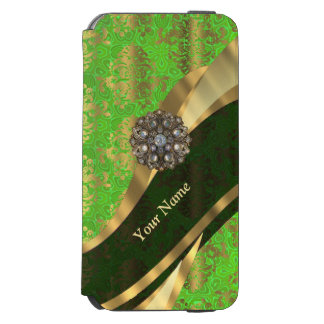 Personalized light green damask pattern incipio watson™ iPhone 6 wallet case