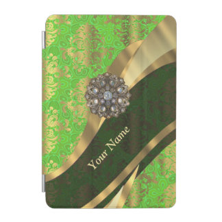 Personalized light green damask pattern iPad mini cover