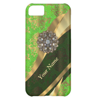 Personalized light green damask pattern iPhone 5C case