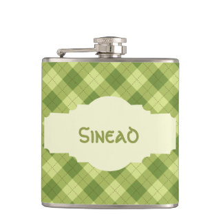 Personalized Light Green Plaid St. Patty's Flask