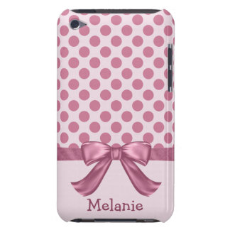 Personalized Light Pink Polka Dot Ribbon Bow iPod Touch Cases
