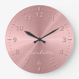 Personalized Light Rose Gold Metallic Large Clock