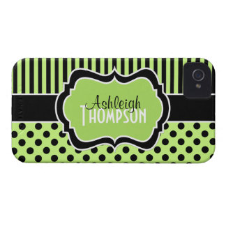Personalized Lime, Black, White Striped Polka Dots Case-Mate iPhone 4 Cases