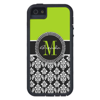Personalized Lime Green Black Damask Case iPhone 5 Case