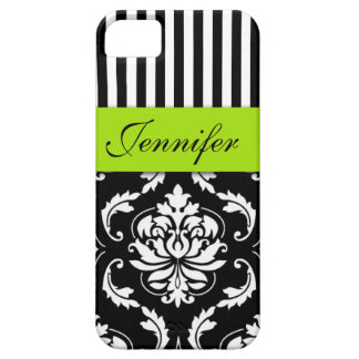 PERSONALIZED LIME GREEN, BLACK DAMASK STRIPED iPhone 5 COVER