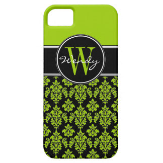 Personalized Lime Green Black Vintage Damask Case For The iPhone 5