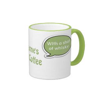 Personalized Lime Green Speech Bubble Irish Coffee Ringer Mug