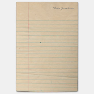 Personalized Lined School Notebook Paper Notepad