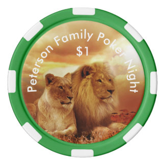 Personalized Lion and Lioness Poker Chips
