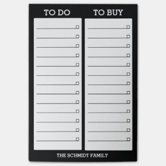 Personalized List- To Do, To Buy - Black Post-it® Notes