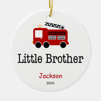 Personalized Little Brother Red Fire Truck Christmas Ornament