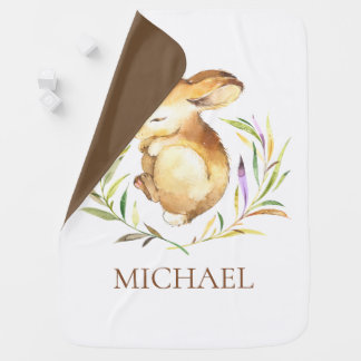 Personalized Little Bunny Baby Receiving Blanket