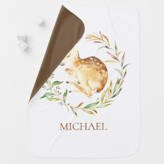 Personalized Little Deer Baby Receiving Blanket