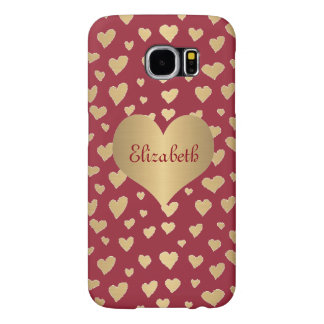 Personalized Little Gold Hearts on Wine Red Samsung Galaxy S6 Cases