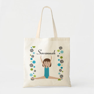 Personalized Little Gymnast in Aqua and Green Tote Bag