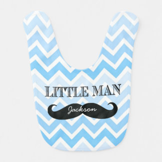 Personalized Little Man Mustache Chevron Boy Bib