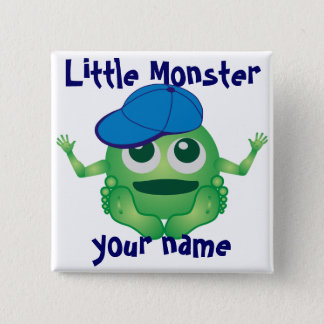 Personalized Little Monster Boy 15 Cm Square Badge