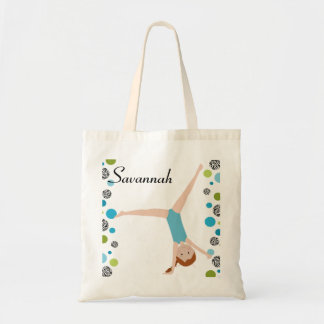 Personalized Little Red Hair Gymnast in Aqua Tote Bag