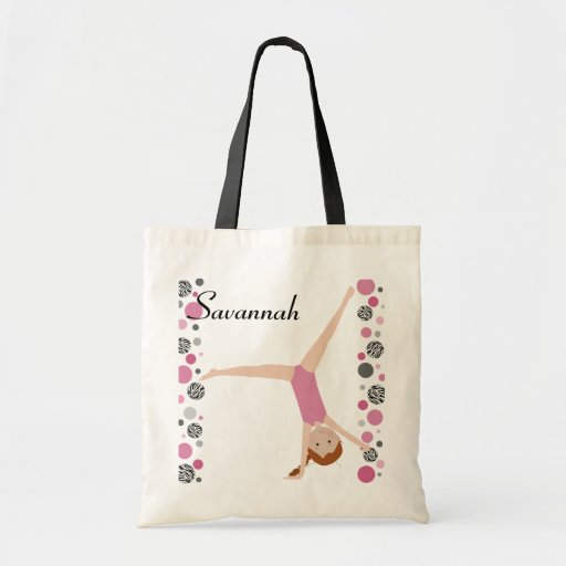 Personalized Little Red Hair Gymnast in Pink Bags