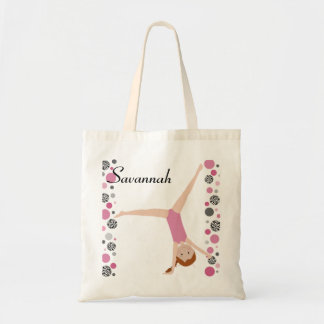 Personalized Little Red Hair Gymnast in Pink Tote Bag