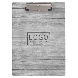 Personalized logo grey woodgrain clipboard