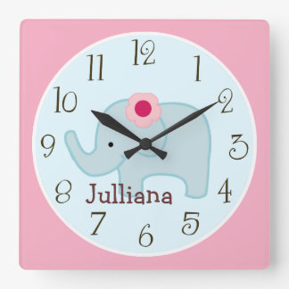 Personalized Lollipop Jungle Elephant Clock
