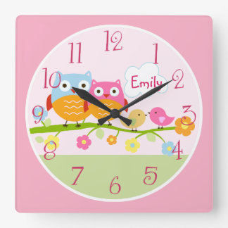 Personalized Love Birds and Owls on Branch  Clock