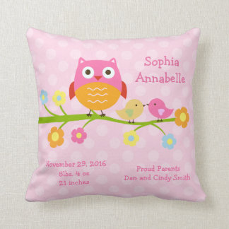 "Personalized ""Love Birds & Owl with dots"" Pillow Cushion"