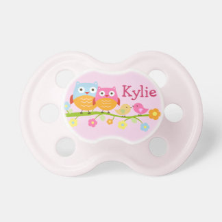 "Personalized ""Love Birds & Owls"" Baby Pacifier"