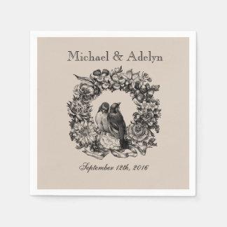 Personalized Love Birds Wreath Wedding Napkins Disposable Napkin