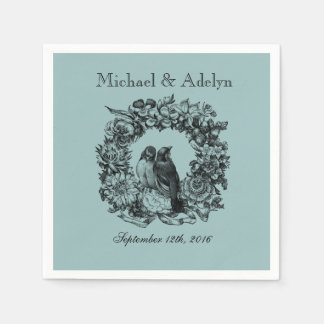 Personalized Love Birds Wreath Wedding Napkins Paper Napkins