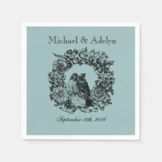 Personalized Love Birds Wreath Wedding Napkins Paper Napkins