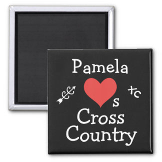 Personalized Love Cross Country Running Square Magnet