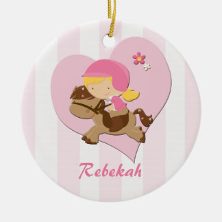 Personalized Love Horseriding Pink Stripes Christmas Ornament