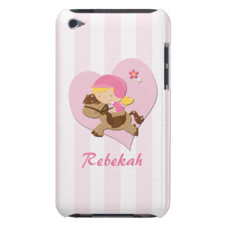 Personalized Love Horseriding Pink Stripes iPod Touch Case-Mate Case