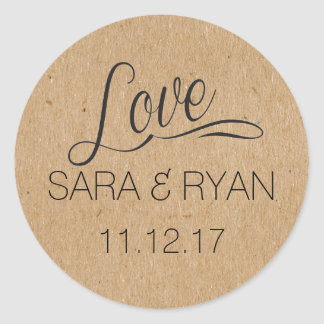 "Personalized ""Love"" Stickers-Wedding Favors Round Sticker"
