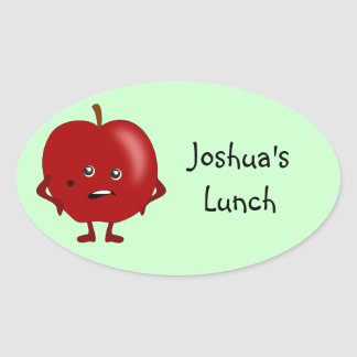 Personalized Lunch Labels: Apple Oval Sticker