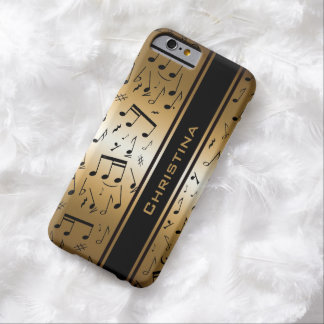 Personalized Luxury Gold and Black Music Notes Barely There iPhone 6 Case