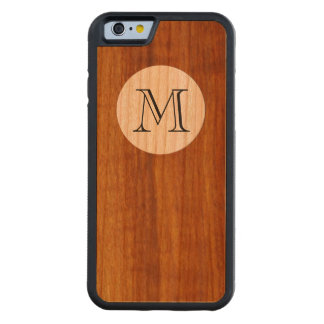 personalized M initial letter on wood Cherry iPhone 6 Bumper Case