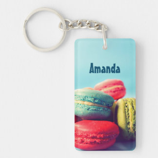 Personalized Macarons Cookies Keychain Light Blue