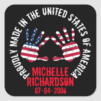 Personalized Made In The USA Square Sticker