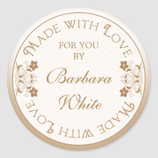Personalized Made with Love Labels Tags Gold Flora Round Sticker