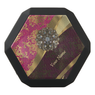 Personalized magenta damask pattern black bluetooth speaker