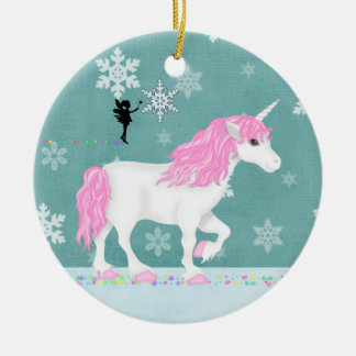 Personalized Magical Pink, White Unicorn and Fairy Round Ceramic Decoration