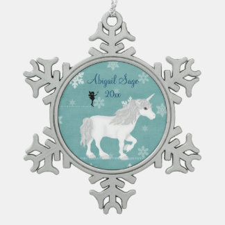 Personalized Magical White Unicorn and Fairy Pewter Snowflake Decoration