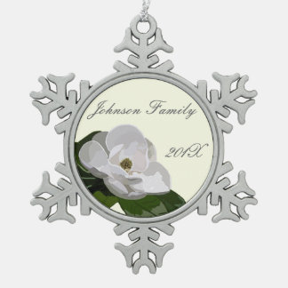 Personalized Magnolia Flower Christmas Pewter Snowflake Decoration