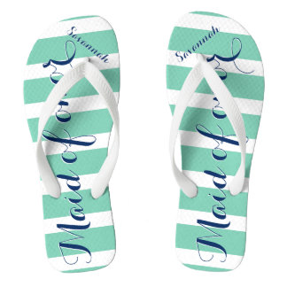 Personalized Maid of Honor Navy and Mint Flip Flops